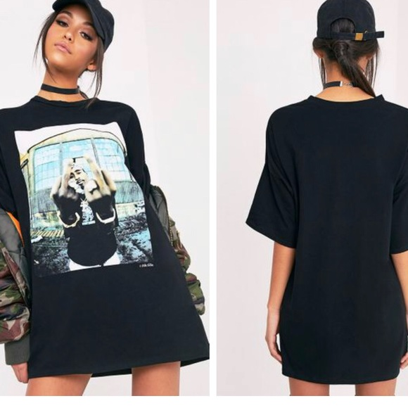 0f098cba178 Tupac Black T-Shirt Dress - Pretty Little thing